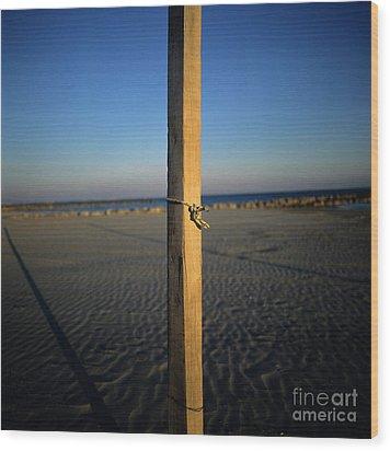 Wooden Post Wood Print by Bernard Jaubert