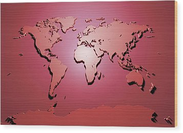World Map In Red Wood Print by Michael Tompsett