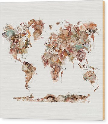 Wood Print featuring the painting World Map Watercolor by Bri B