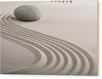 Zen Sand Stone Garden Wood Print