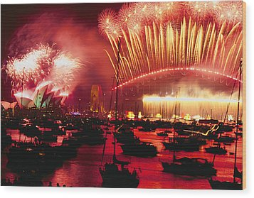 20 Tons Of Fireworks Explode Wood Print by Annie Griffiths