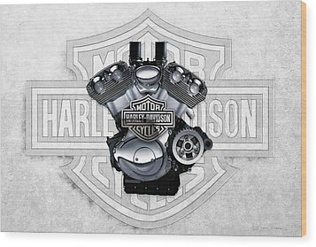 Wood Print featuring the digital art 2002 Harley-davidson Revolution Engine With 3d Badge  by Serge Averbukh