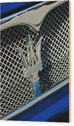 2002 Maserati Combiocorsa Spyder Hood Ornament Wood Print by Jill Reger