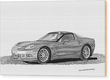 Wood Print featuring the painting  Corvette Roadster, Silver Ghost by Jack Pumphrey