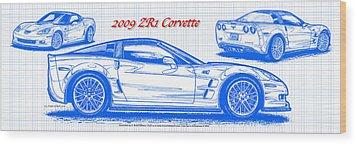 2009 C6 Zr1 Corvette Blueprint Wood Print