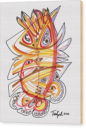 2010 Drawing Three Wood Print by Lynne Taetzsch