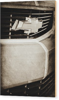 Wood Print featuring the photograph 2011 Chevrolet Camaro Grille Emblem -0321s by Jill Reger