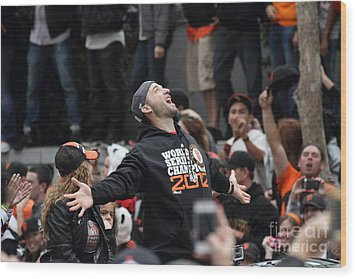 2012 San Francisco Giants World Series Champions Parade - Marco Scutaro - Dpp0008 Wood Print by Wingsdomain Art and Photography