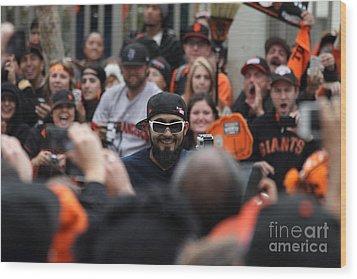 2012 San Francisco Giants World Series Champions Parade - Sergio Romo - Dpp0007 Wood Print by Wingsdomain Art and Photography