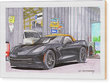 Wood Print featuring the painting 2014 Corvette And Man Cave Garage by Jack Pumphrey