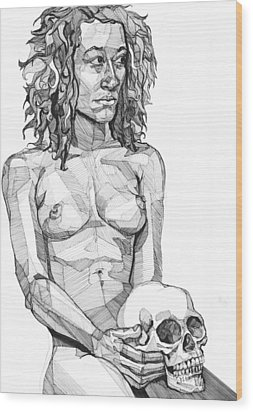 Wood Print featuring the drawing 20140116 by Michael Wilson