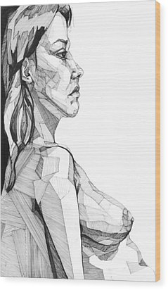 Wood Print featuring the drawing 20140120 by Michael Wilson