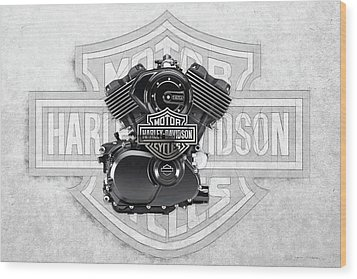 Wood Print featuring the digital art 2015 Harley-davidson Street-xg750 Engine With 3d Badge  by Serge Averbukh