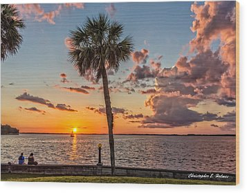 Wood Print featuring the photograph Sunset Over Lake Eustis by Christopher Holmes