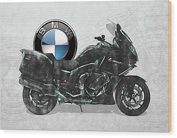 Wood Print featuring the digital art 2016 Bmw-k1600gt Motorcycle With 3d Badge Over Vintage Blueprint  by Serge Averbukh