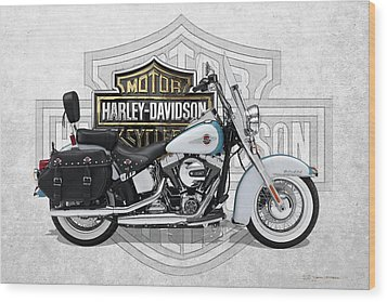 Wood Print featuring the digital art 2017 Harley-davidson Heritage Softail Classic  Motorcycle With 3d Badge Over Vintage Background  by Serge Averbukh