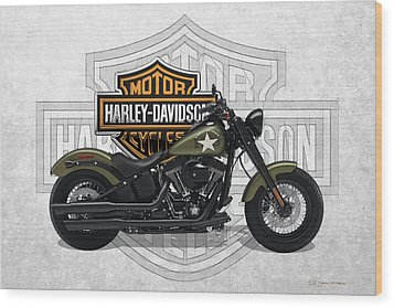 Wood Print featuring the digital art 2017 Harley-davidson Softail Slim S Motorcycle With 3d Badge Over Vintage Background  by Serge Averbukh