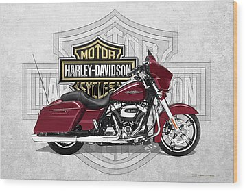 Wood Print featuring the digital art 2017 Harley-davidson Street Glide Special Motorcycle With 3d Badge Over Vintage Background  by Serge Averbukh