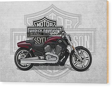 Wood Print featuring the digital art 2017 Harley-davidson V-rod Muscle Motorcycle With 3d Badge Over Vintage Background  by Serge Averbukh