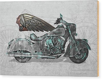 Wood Print featuring the digital art 2017 Indian Chief Classic Motorcycle With 3d Badge Over Vintage Blueprint  by Serge Averbukh