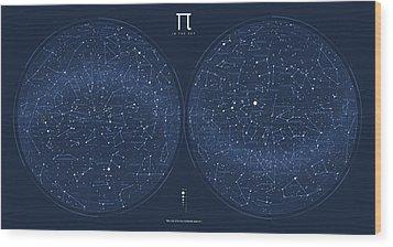 2017 Pi Day Star Chart Azimuthal Projection Wood Print by Martin Krzywinski