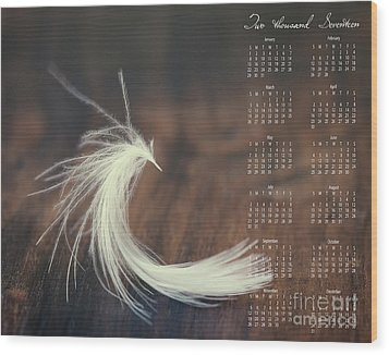 Wood Print featuring the photograph 2017 Wall Calendar Feather by Ivy Ho
