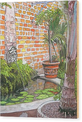 21   French Quarter Courtyard With Reflection Pool Wood Print by John Boles