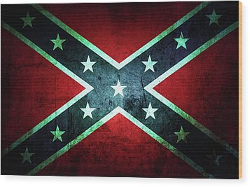 Wood Print featuring the photograph Confederate Flag by Les Cunliffe