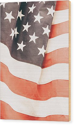 Wood Print featuring the photograph American Flag by Les Cunliffe