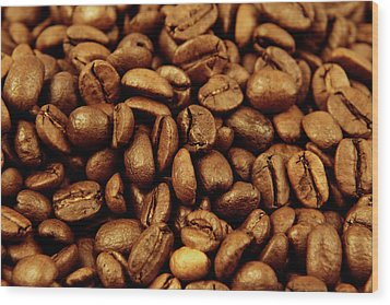 Wood Print featuring the photograph Coffee Beans by Les Cunliffe