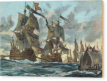 Spanish Armada (1588) Wood Print by Granger