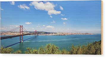 Wood Print featuring the photograph 25th April Bridge Lisbon by Marion McCristall