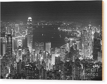Hong Kong Skyline Wood Print