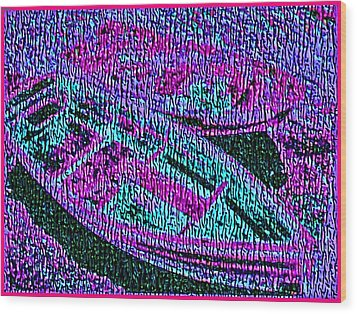 29a  Green Purple Rowboats Wood Print by Ed Immar