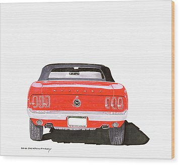 Wood Print featuring the painting 1969 Mustang Convertible by Jack Pumphrey