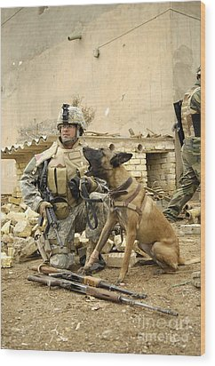 A Dog Handler And His Military Working Wood Print by Stocktrek Images