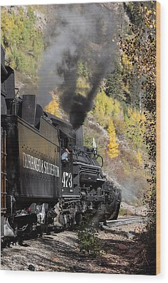 A Durango And Silverton Narrow Gauge Scenic Railroad Train Chugs Through The San Juan Mountains Wood Print by Carol M Highsmith
