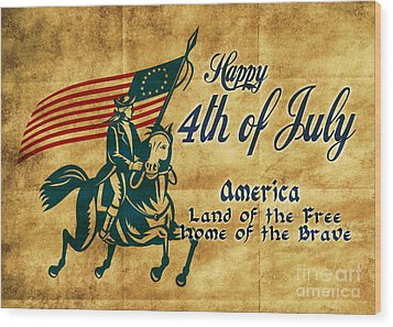American Revolution Soldier General  Wood Print by Aloysius Patrimonio