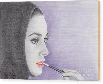 Wood Print featuring the drawing Audrey Hepburn by Eliza Lo