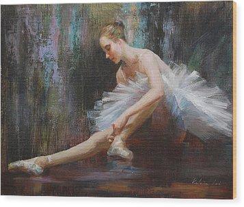 Ballerina Wood Print by Kelvin  Lei
