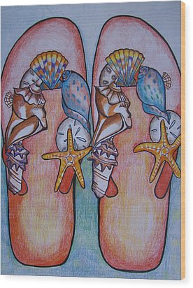 Wood Print featuring the drawing Beach Shoes by Leslie Manley