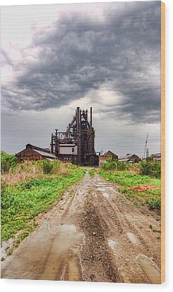 Wood Print featuring the photograph Bethlehem Steel by Michael Dorn
