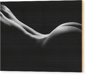 Black And White Nude Wood Print by David Quinn