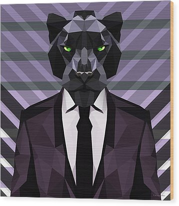 Black Panther Wood Print by Gallini Design