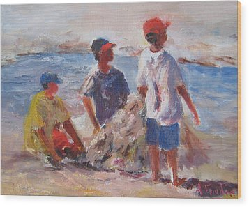 3 Boys And A Beach Wood Print by Albert Fendig