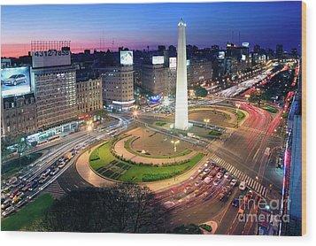 Buenos Aires Obelisk Wood Print by Bernardo Galmarini