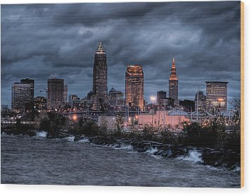 Cleveland Skyline At Dusk From Edgewater Park Wood Print by At Lands End Photography