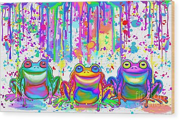 Wood Print featuring the painting 3 Colorful Painted Frogs by Nick Gustafson