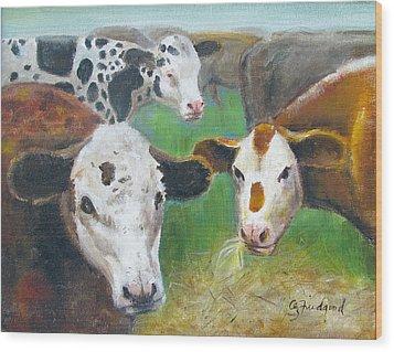 3 Cows Wood Print