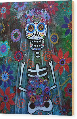Day Of The Dead Bride Wood Print by Pristine Cartera Turkus